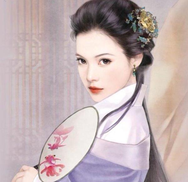 古代美女抚琴手绘唯美图片